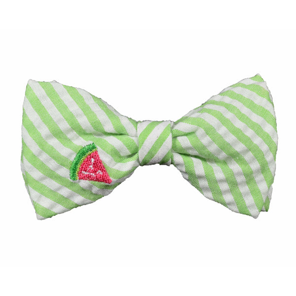 Green Stripe Watermelon Dog Bow Tie
