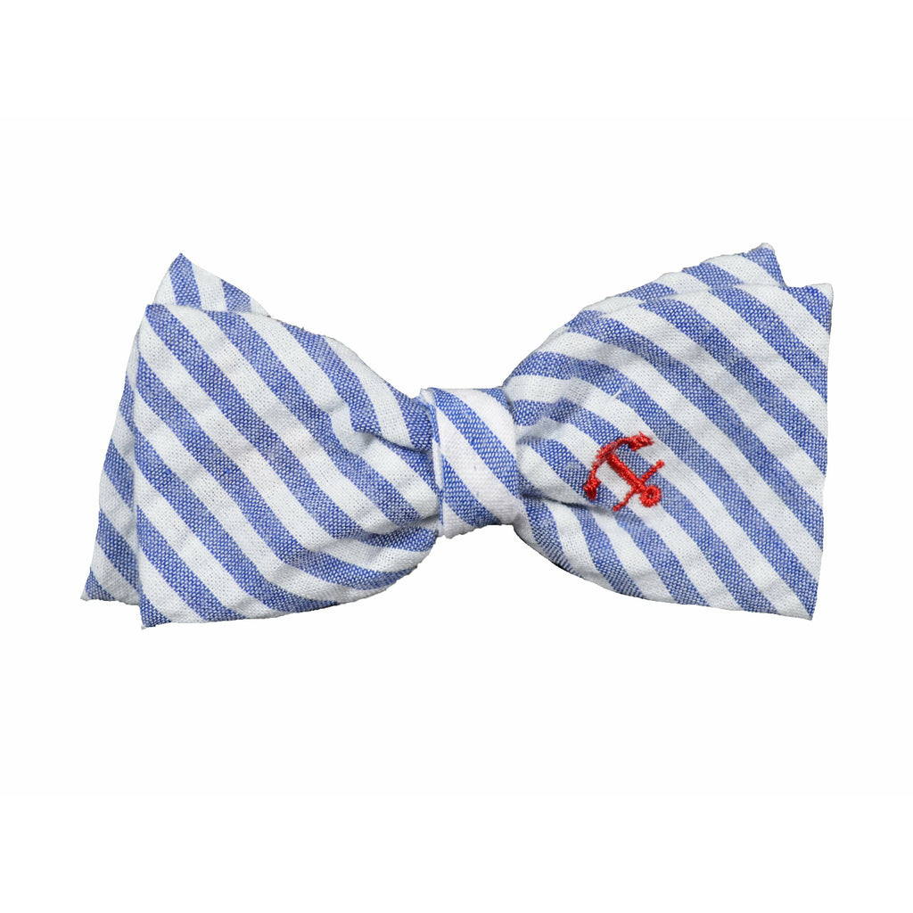 Navy Stripe Anchor Dog Bow Tie