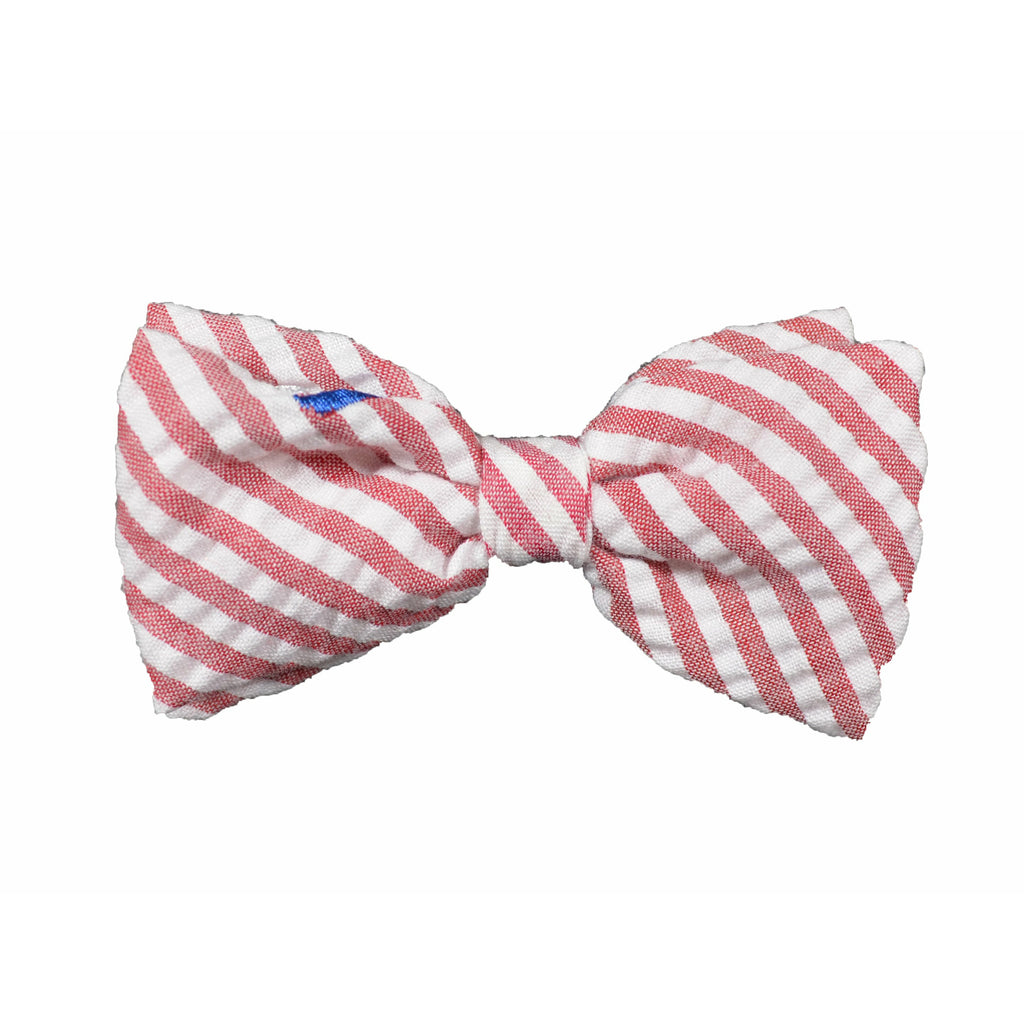 Red Stripe Sailboat Dog Bow Tie