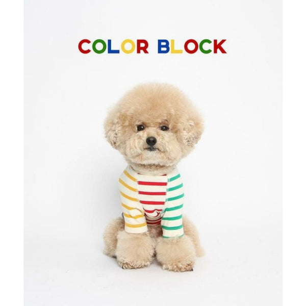Stripe Color Block Dog Tee