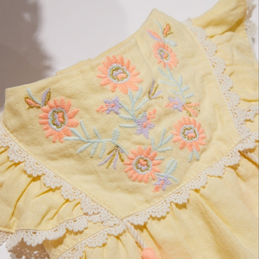 Bohemian Embroidery Dress Yellow