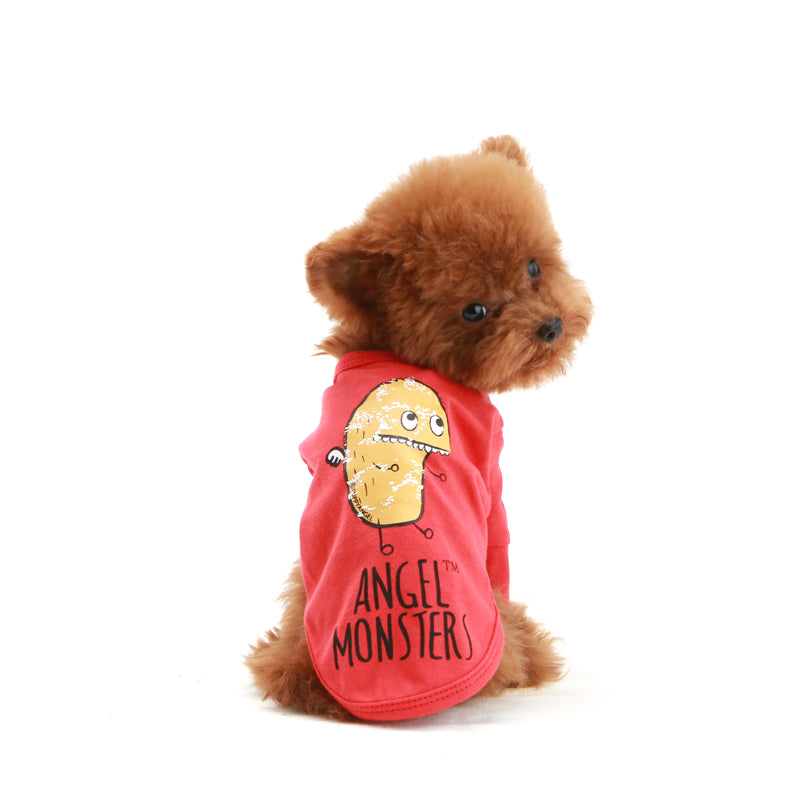Angel Monster Long Sleeves Dog T-shirt Red