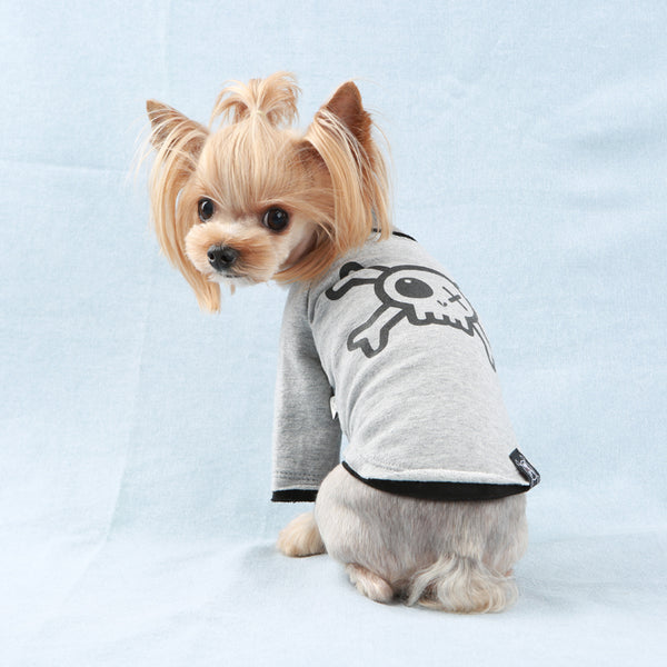 Pirate Long Layered Sleeves Dog T-Shirt Grey