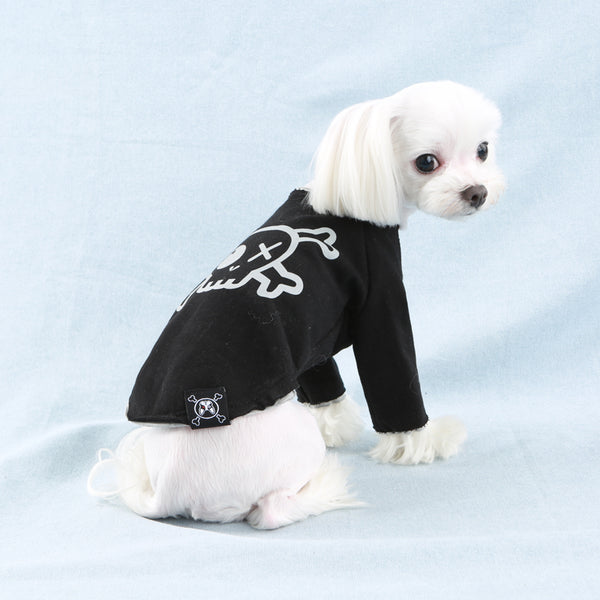 Pirate Long Layered Sleeves Dog T-Shirt Black