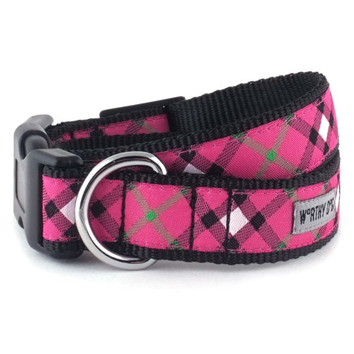 plaid hot pink collar