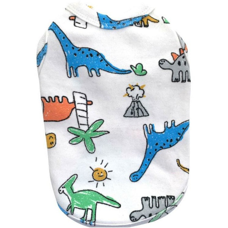 Dinosaur Sleeveless Top White
