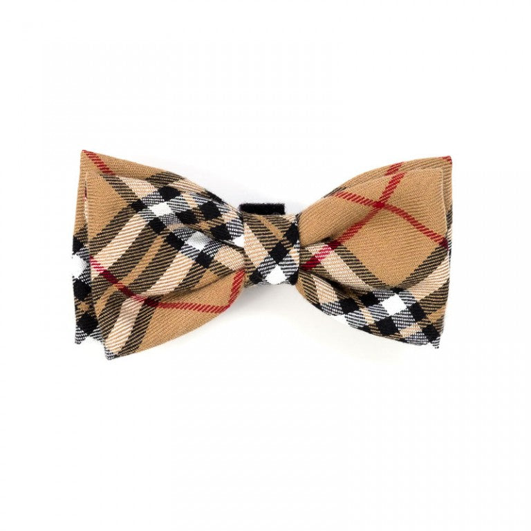 Tan Plaid Dog Bow Tie