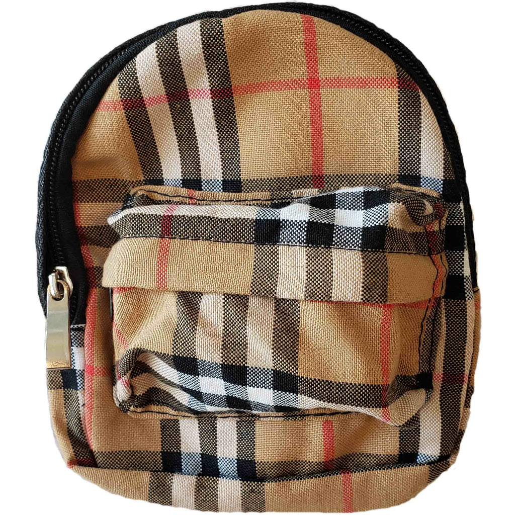 Tan Plaid Dog Backpack + Leash
