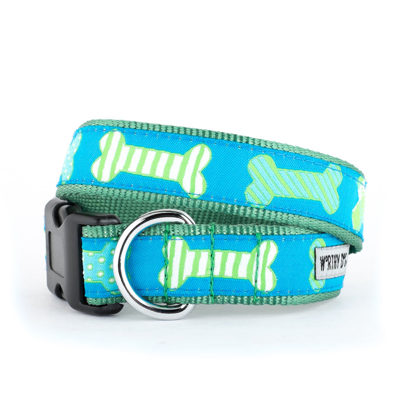 Preppy Bones Dog Collar Blue