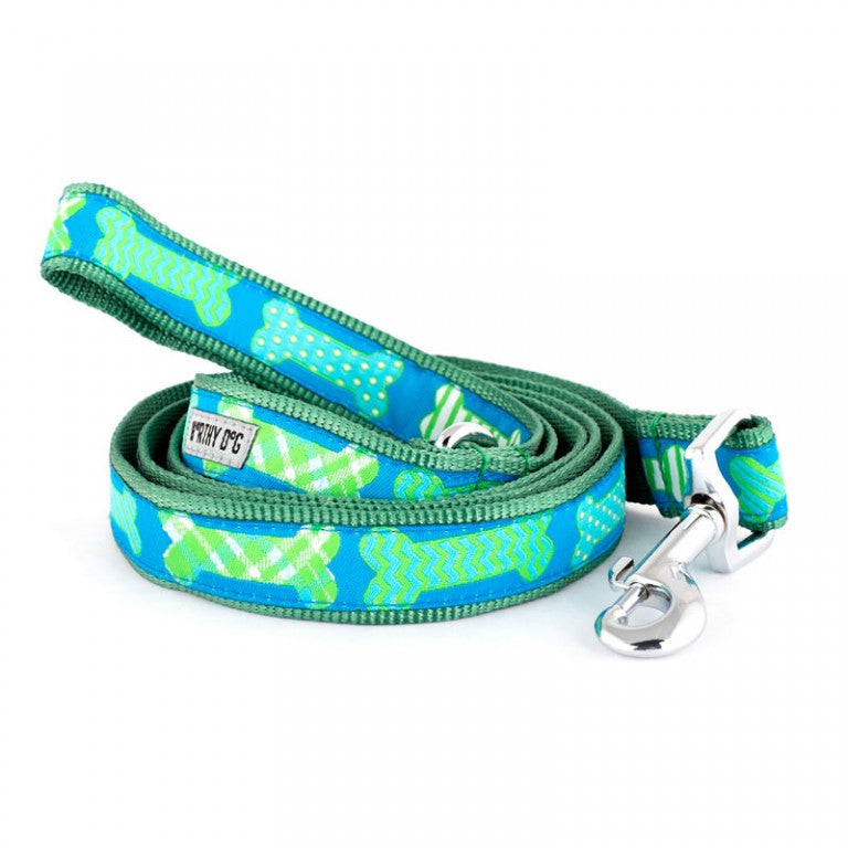 Preppy Bones Dog Leash Blue