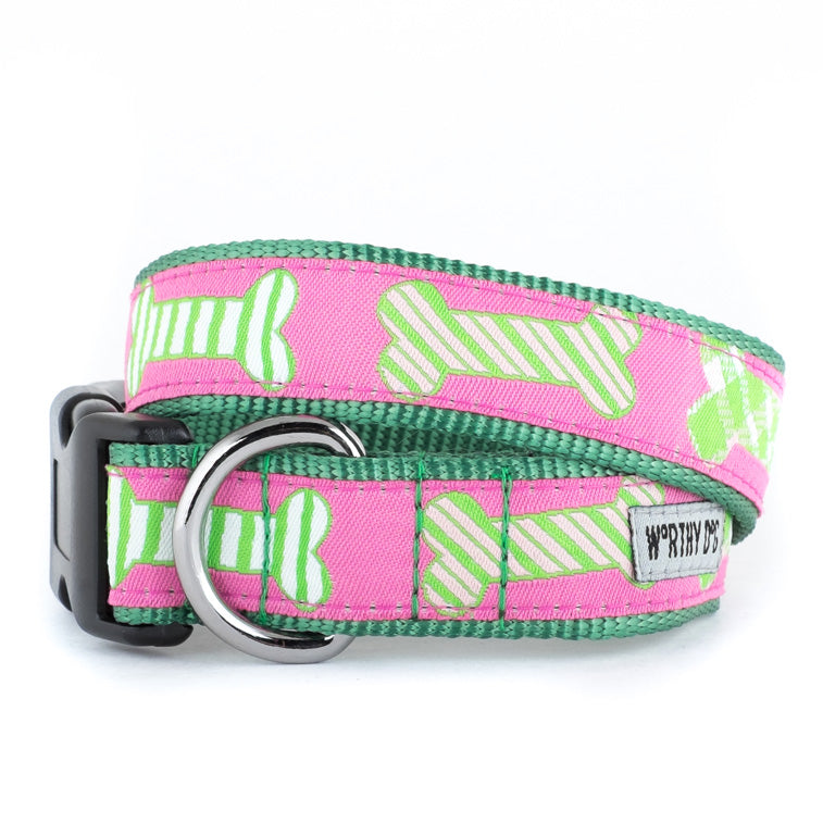 Preppy Bones Dog Collar Pink