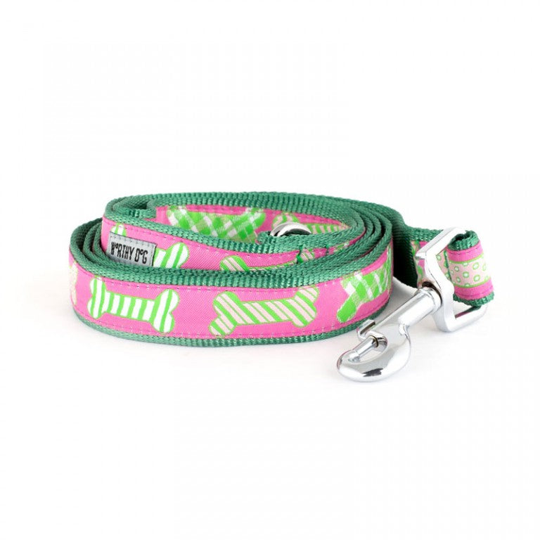 Preppy Bones Dog Leash Pink