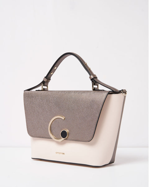 Judi Top Handle Bag <span>Beige and Steel</span>