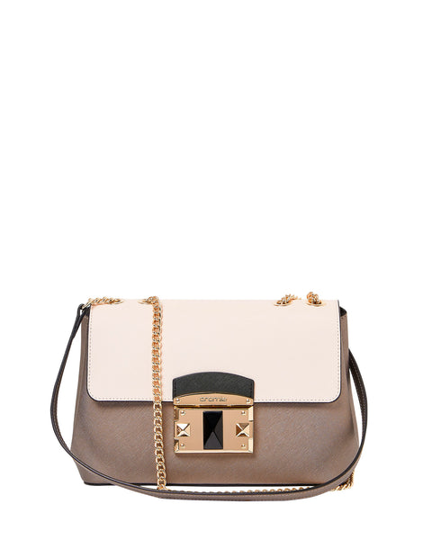 IT Saffiano Crossbody Shoulder Bag <span>Steel and Beige</span>