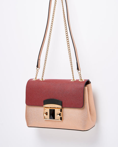 IT Saffiano Crossbody Shoulder Bag <span> Bordeaux and Rose Gold </span>