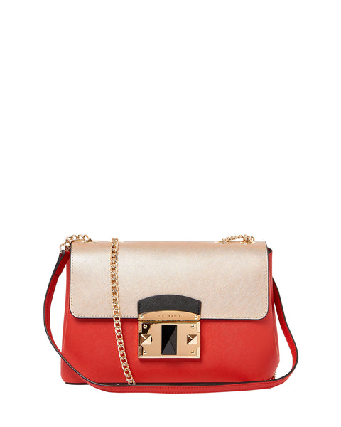 IT Saffiano Crossbody Shoulder Bag <span> Gold and Red </span>