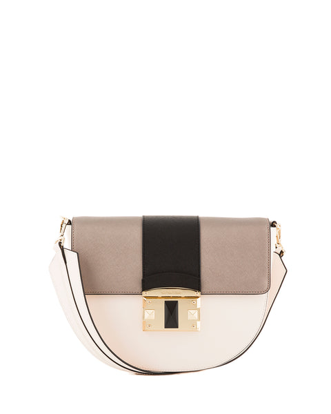 IT Saffiano Tri-colour Shoulder Bag <span>Beige/Gunmetal/Black</span>