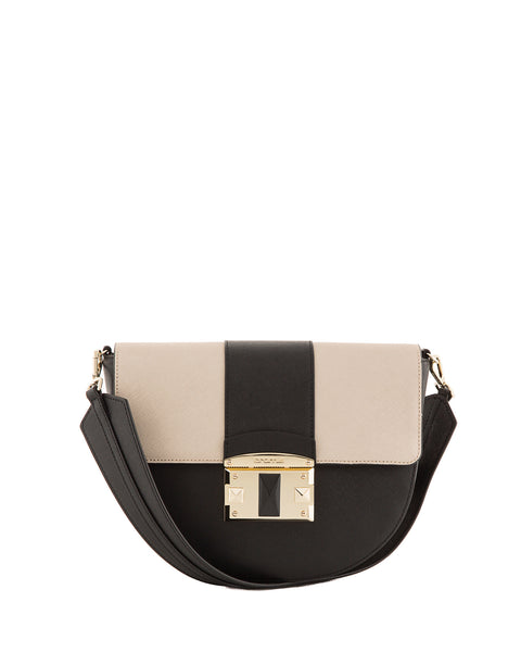 IT Saffiano Tri-colour Shoulder Bag <span>Black/Gold/Black</span>