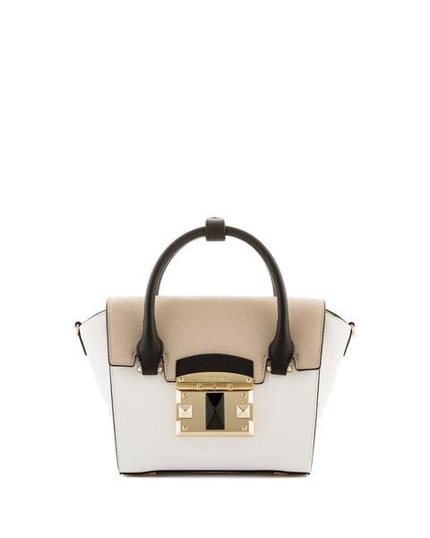 IT Saffiano Tri-colour Handbag <span>White/Gold/Black</span>
