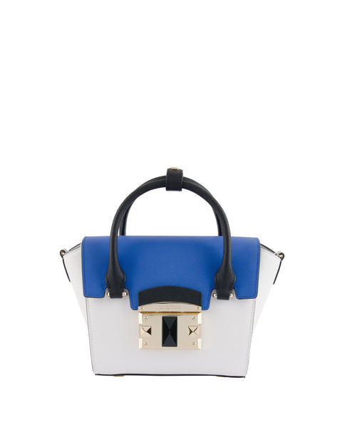 IT Saffiano Tri-colour Handbag <span>White/Indigo/Black</span>