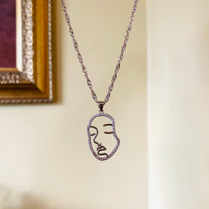 Silver Bling Face Twist Necklace