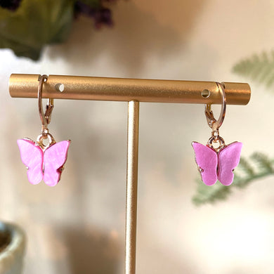 Pink Butterfly Fashion Earrings