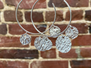 Silver Classic Hoop Fashion Earrings with 3 Pieces
