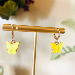 Yellow Butterfly Fashion Earrings