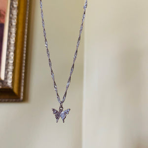 SP Silver Sparkling Butterfly Twisted Choker Necklace