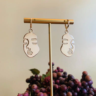 Gold Face Huggie Earrings