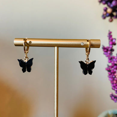 Black Gold Plated Butterfly Earrings
