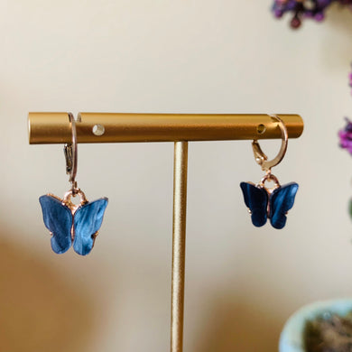Navy Blue/Black Butterfly Fashion Earrings