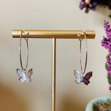 Silver Hoop with Butterfly Fashion Earrings