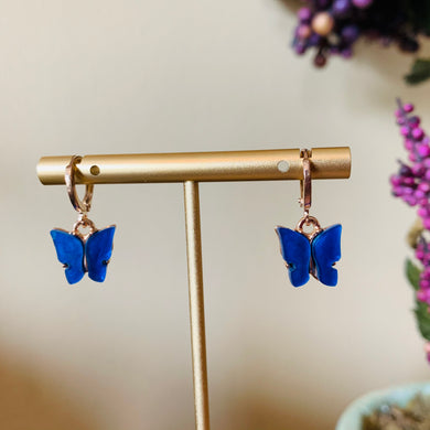Dark Blue Butterfly Fashion Earrings