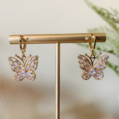 Gold Sparkling Butterfly Huggie Earrings