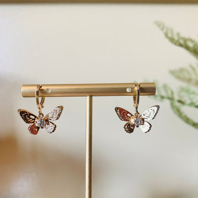 Gold Butterfly with Gem Huggie Earrings