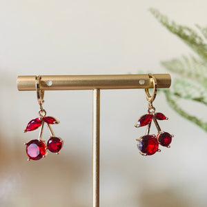 Red Cherry Huggie Earrings