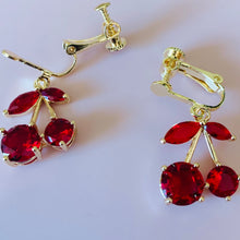 Load image into Gallery viewer, Red Cherry Clip-On Earrings
