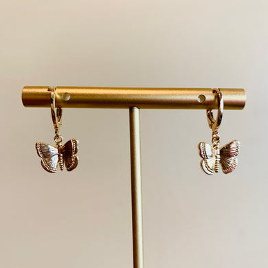 Gold Butterfly Huggie Earrings