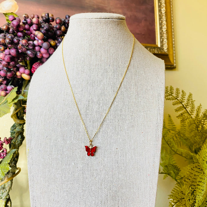SP Dainty Red Butterfly Necklace
