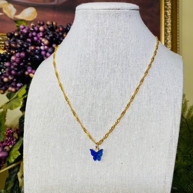SP Blue Butterfly Twisted Necklace