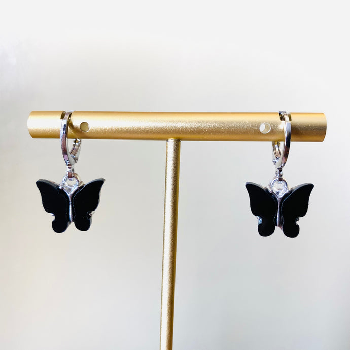 Black Silver Butterfly Earrings