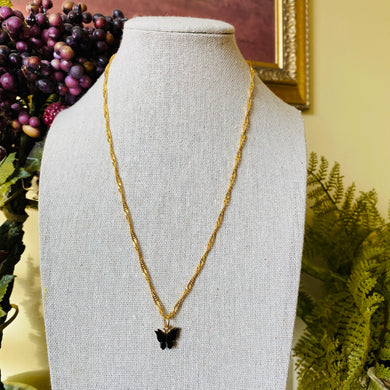 SP Black Butterfly Twisted Necklace