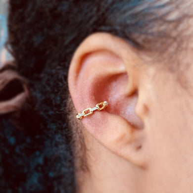 Interlock Gold Plated Ear Cuff
