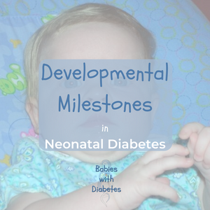 Background of a baby with the title Developmental Milestones in Neonatal Diabetes overlaying the picture. Logo of Babies with Diabetes