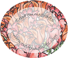 A round image. The background is filled with orange and pink flowers. The foreground contains cripfemmecrafts and www.cripfemmecrafts.com