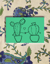 Load image into Gallery viewer, Cacti Holding Hands Postcards