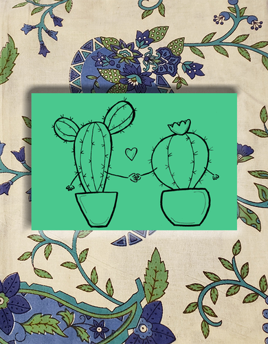Cacti Holding Hands Postcards