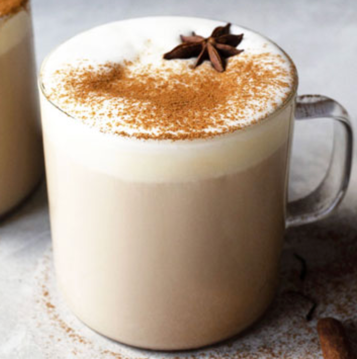 Latte with star anise garnish