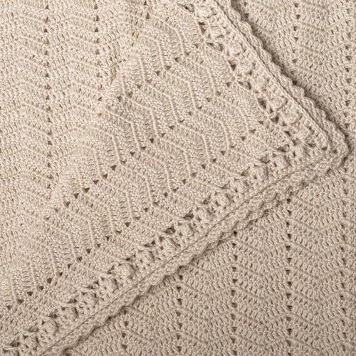 OB DESIGNS Handmade Natural Beige Crochet Blanket
